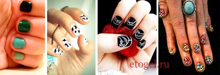 Цветы гель-лаком на коротких ногтях