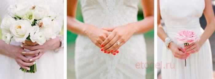 Свадебный маникюр гель лаком для невесты