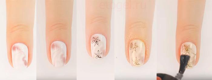 Хромовые цветы по мокрому гель лаку