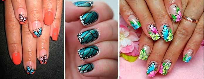 Разные техники рисования бабочек на ногтях