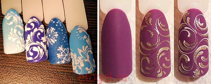Примеры вензелей на ногтях