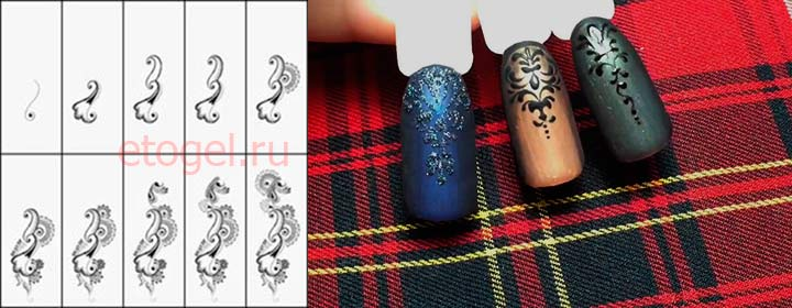 Схема рисования завитушек на ногтях