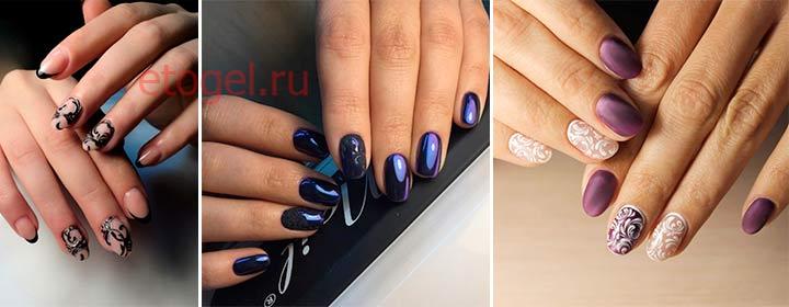 Примеры работ по дизайну ногтей с вензелями