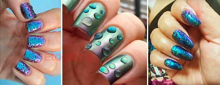 Дизайн с каплями на ногтях гель-лаком