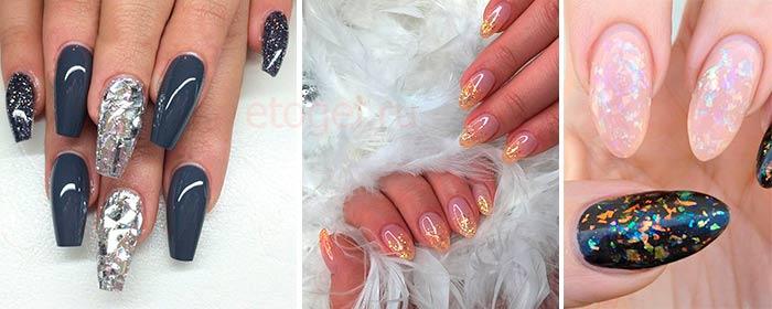 Дизайн ногтей сухой слюдой