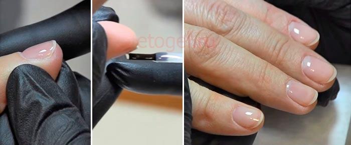 Процесс выравнивания ногтей густым базовым покрытием