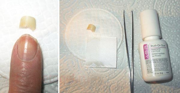 Ремонт ногтя шелком