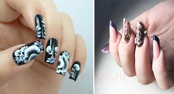 Красивые примеры росписи акрилом по ногтям