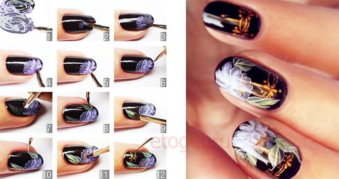 Поэтапная роспись акрилом на ногтях