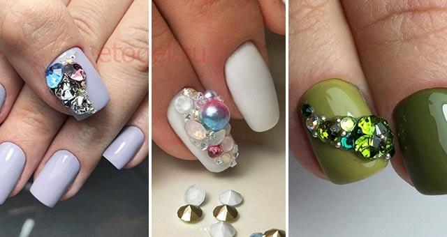 Идеи дизайна ногтей с 3D стразами