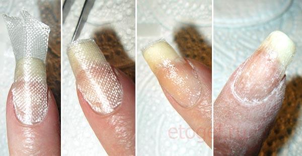 Починить трещину на ногте шелком