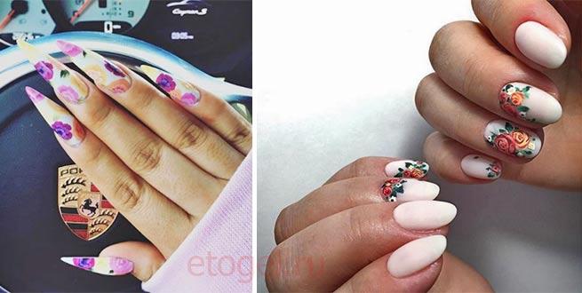 Красивый маникюр с цветами на длинные ногти