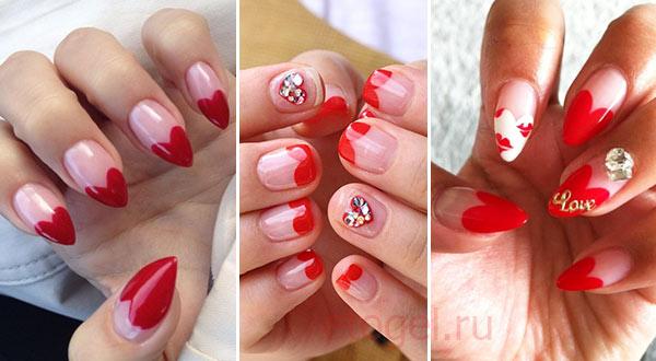 Красный маникюр на День Влюбленных