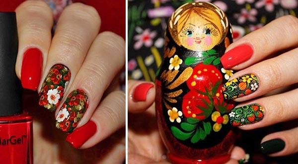 Красные ногти с росписью в русском стиле