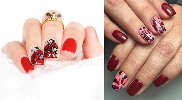 Красные ногти с цветами