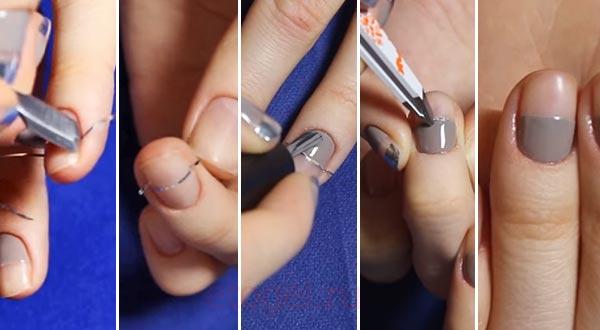 Как клеить полоски на ногти