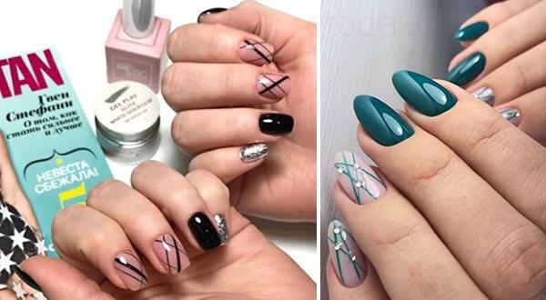 Полоски от руки в дизайне ногтей