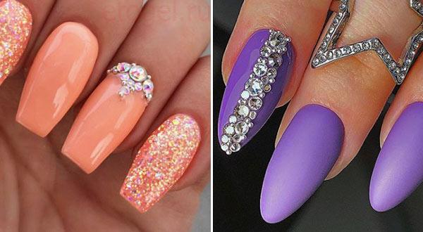 Примеры крепления страз на ногти