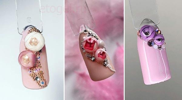 Красивые идеи маникюра с цветочными пузырями