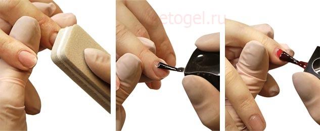 Процесс подготовки ногтей и нанесение гель лака