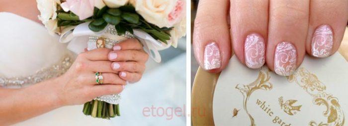 Свадебный маникюр гель лаком на короткие ногти