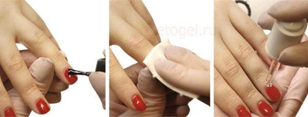 Процесс нанесения гель лака и снятие липкого слоя после сушки под лампой