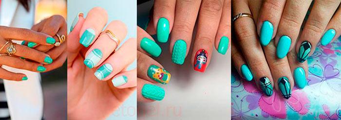 Примеры дизайна ногтей с мятным гель лаком