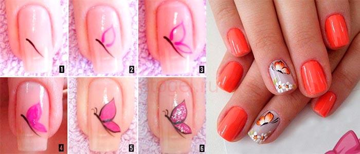 Рисуем бабочки на ногтях пошагово 94