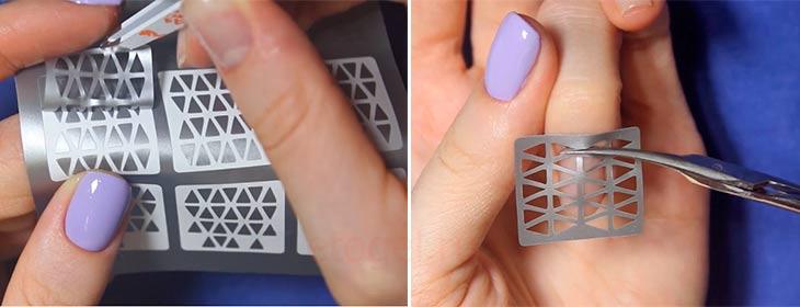 Поэтапный процесс маникюра с геометрическим трафаретом