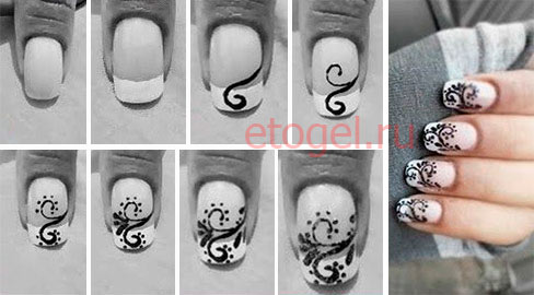 Рисунки вензеля на ногтях