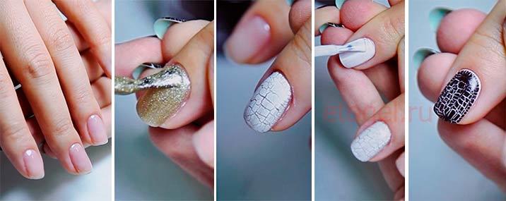 Как сделать кракелюр на ногтях гель-лаком