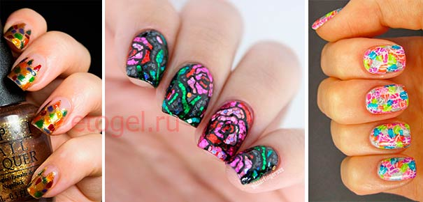Мозайка блестками на ногтях