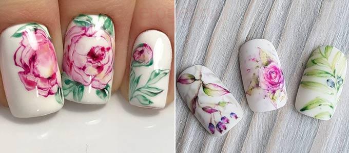 Дизайны акварелью на ногтях