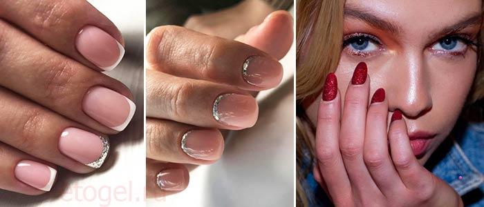 красивые примеры дизайна ногтей гель лаком с блестками