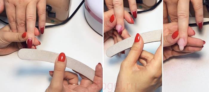 Как спиливать гель лак с нарощенных ногтей