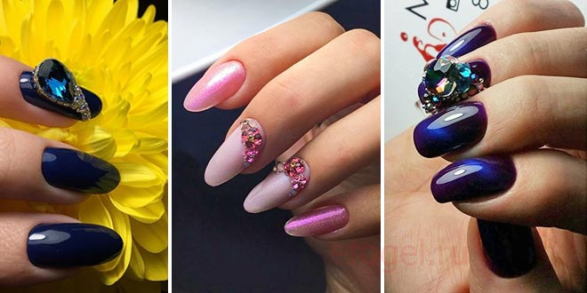 Конусные стразы в дизайне ногтей