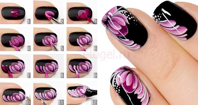 Акриловая роспись ногтей пошагово