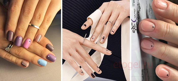 Дизайн ногтей с точками и линиями