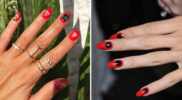 Красный дизайн ногтей в японском стиле